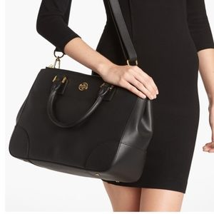 Tory Burch Black Leather Robinson Double Zip Tote